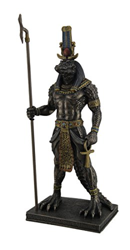 Resin Statues Sobek Ancient Egyptian Crocodile God Of The Nile Bronzed Finish Statue 4.5 X 11.25 X 3 Inches (Ancient Egyptian Statue)