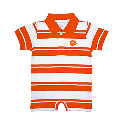 (Two Feet Ahead Clemson Tigers NCAA College Infant Baby Rugby Striped Romper (12)