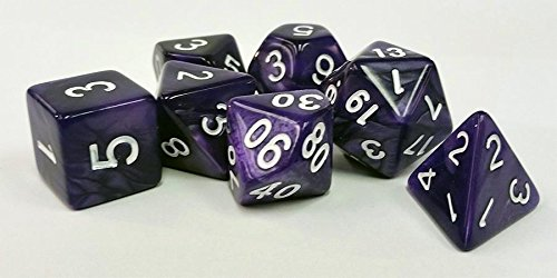 Polyhedral 7-Die Critical Role Dice Set - Pearl - Passion Purple with White Numbers