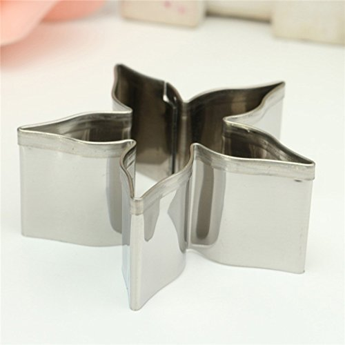 Ouken Cotowin Stainless Steel Cookie Cutter Rose Flower Calyx Serrate Leaves Biscuit Fondant Cake