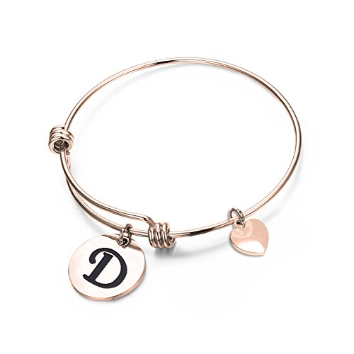 Rose Gold Letter - MAOFAED Initial Bracelet,Rose Gold Letter Bracelet, Personalized Jewelry, Hand Stamped Jewelry (Rose Gold-D)
