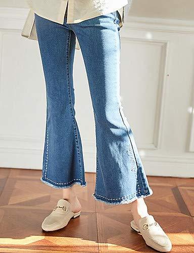 pour Pantalon YFLTZ Unie Blue Basic Femme Couleur Jeans tpt4nzwqR