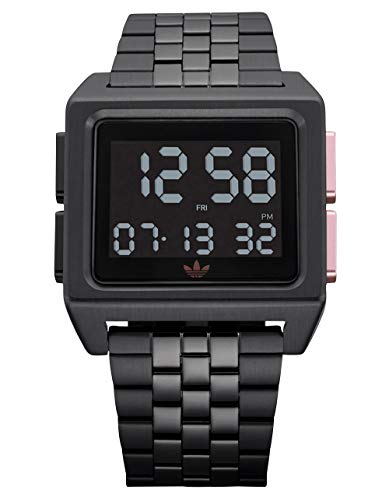 Adidas Watches Archive_M1. Men's 70's Style Stainless Steel Digital Watch with 5 Link Bracelet (All Black/Copper. 36 mm). (Watch Adidas Men)