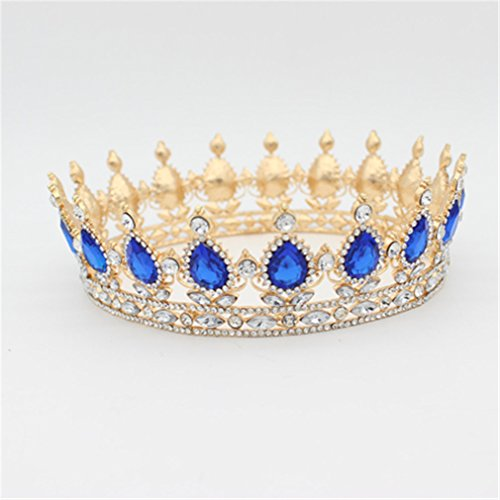 Tiara Crown For Women Headdress Prom Bridal Wedding Tiaras And Crowns Hair Jewelry Gold Blue