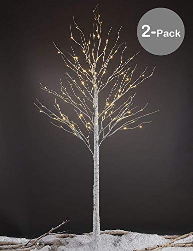 LIGHTSHARE 8 Feet Birch Tree, 132 LED Lights, Warm White, for Home,Set of 2, Festival, Party, and Christmas Decoration, Indoor and Outdoor Use (Decorations Outdoor Home)