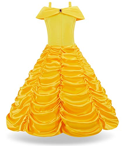 FUNNA Princess Belle Costume Dress for Girls Toddler Dress Up Yellow, 3T