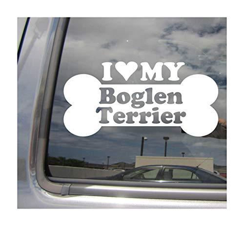 I Heart Love My Boglen Terrier - Dog Bone Beagle Boston Terrier Mix Hybrid Breed Cars Trucks Moped Helmet Hard Hat Surfboard Auto Automotive Craft Laptop Vinyl Decal Store Window Wall Sticker 13157