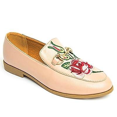 Fantasia Boutique faux cuir pour femmes broderie fleur couture CHAÎNE OR ÉLÉGANT PLAT mocassins