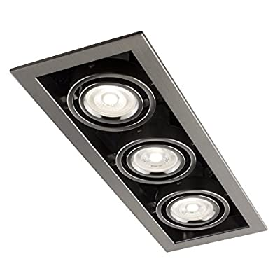 Bazz CL313AB Cube Recessed LED Lighting Kit with Gu10 Bulb Included, Triple, Brushed Chrome