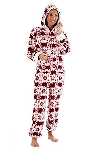 Selena Secrets - Pijama de forro polar de una pieza, con capucha Pink Onesie