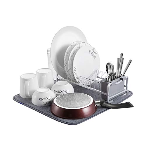 Aluminum Compact Dish Drying Rack With Microfiber Mat, Cup Holder and Removable Utensil Holder for Kitchen, Rust free (Dish Rack Foldable)