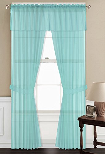 GorgeousHomeLinen Valance Tiebacks Curtain Turquoise