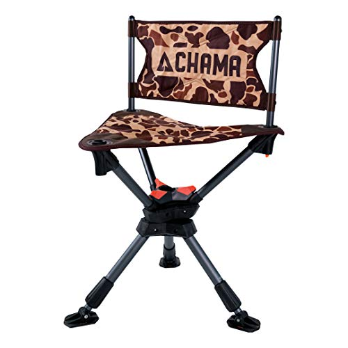 CHAMA Chairs All-Terrain 360 Swivel Hunting Camping Chair with Ever-Level Telescoping Legs