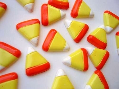 US seller 20 Halloween Candy Corn Resin Flatback Button/bead/Craft/embellishment/trim B31]()