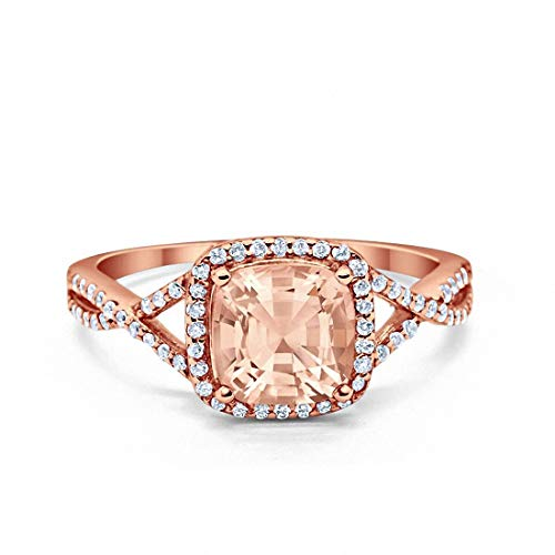 Blue Apple Co. Halo Infinity Shank Engagement Ring Cushion Simulated Morganite Round Cubic Zirconia Rose Tone 925 Sterling Silver, Size-7