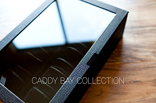 Personalized Watch Box for Men - Holds 10 Watches, Elegant Black Pebbled Exterior, Men's Gift, Groomsmen Gift, Anniversary Gift, Christmas Gift, Father's Day Gift, Caddy Bay Collection - Exterior Collection