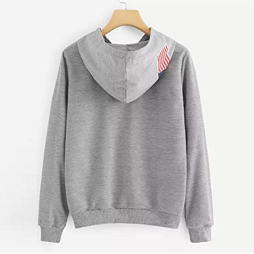 Pullover Morwind Long Hoodie Tops Flag Sweatshirt Womens Gray Letter Blouse Sleeve Printed RRS8qw