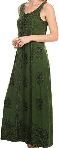 Caftan Corset Top Sakkas Embroidery Tank Dress Adjustable Stella Long Green With qwqZB1X