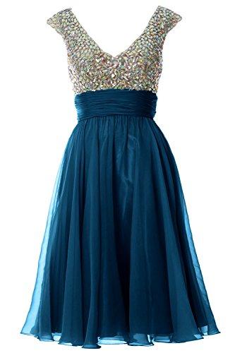 MACLoth Women Cap Sleeve V Neck Crystal Chiffon Short Prom Dress Evening Gown Teal