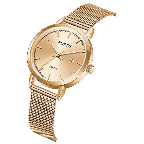Womens Luxury Watch, Fashion Waterproof Stainless Steel Bracelet Analog Quartz Wrist Watches for Ladies (Rose Gold)