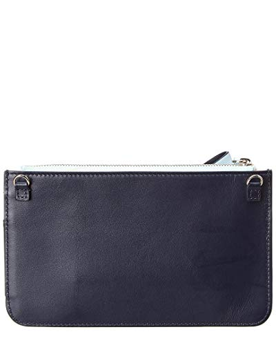 Leather Blue Delpozo Mini Bow Zip Clutch v0SnYztqx
