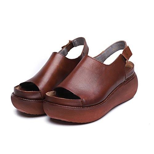 de de Sandalias tacón de de caseros Zapatos de Alto DANDANJIE Cuero Rojo de Las Zapatos Moda Sandalias Verano para tacón de cuña señoras Mujer 0TxxdIq