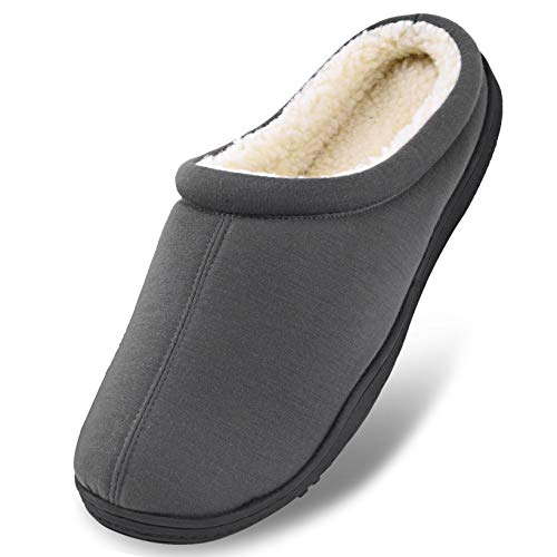 Men's Winter Warm Fleece Lined Memory Foam Slippers Slip On Clogs Indoor Outdoor House Shoes with Anti Skid Sole Grey