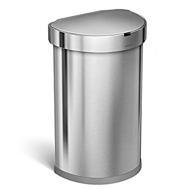 simplehuman 45L Semi-Round Sensor Can, Automatic Kitchen Trash Can, Brushed Stainless Steel, 45 L / 11.8 Gal