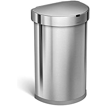 simplehuman 45l semi round sensor can automatictouchless kitchen trash can brushed stainless steel 45 l 118 gal. Interior Design Ideas. Home Design Ideas