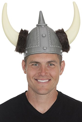 Jacobson Hat Company Men's Viking Helmet with Fur Cuffs, Silver, Adult - Adult Unisex Viking Costumes