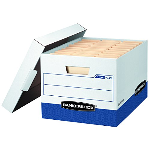 Bankers Box R-Kive File Storage Boxes with Lift-Off Lid, Letter/Legal, White/Blue, 20-Pack, - Bankers Box Fast Fold