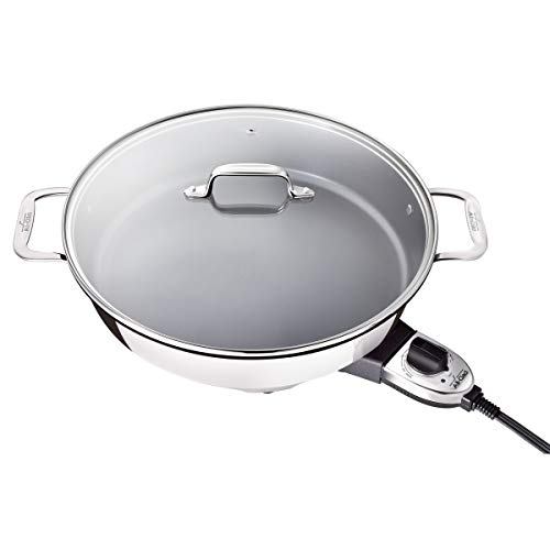 Ply Stainless Steel Electric Skillet - All-Clad SK492 Electric Skillet with Adjustable Temperature Dial, 7 Quart, Stainless Steel