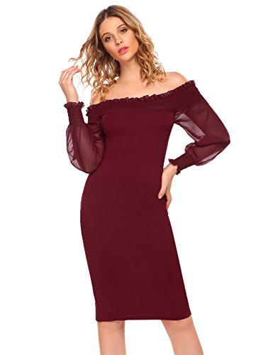 ACEVOG Damen Elegant Bleistiftkleid Kleid Schulterfrei Etuikleid ...