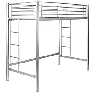Safstar Twin Loft Bed Heavy Duty Metal Bunk Bed with Ladders Space Underneath for Boys Girls Teens Kids Bedroom Dorm