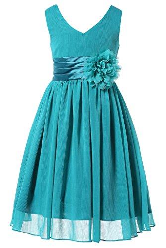 Bow Dream Flower Girl Dress Junior Bridesmaids V-Neckline Chiffon Peacock Blue 14