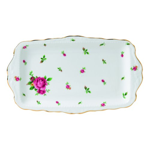 Royal Albert New Country Roses Formal Vintage Sandwich Tray, White - Rose Sandwich Tray