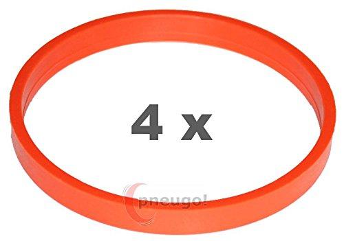 4/X Anello Di Centraggio in plastica 72.0/mm su 66.6/mm Arancione