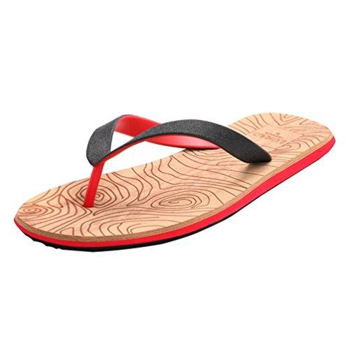 Baymate Herren Strand Zehentrenner Flach Flip Flops Dusch Badeschuhe Sandalen Rot
