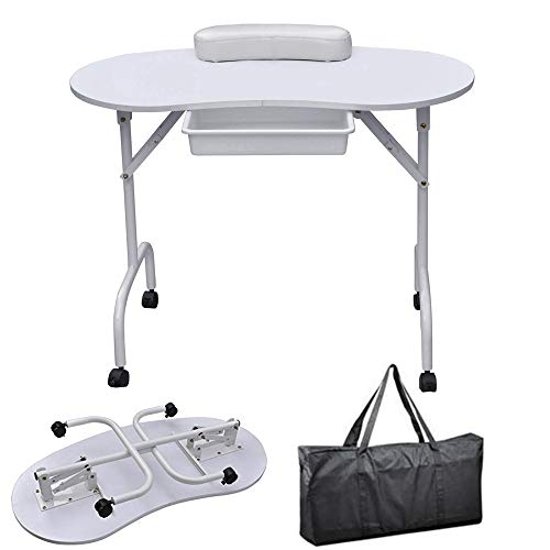HOBBYN Portable & Foldable 1-Drawer Manicure Table Nail Technician Desk Workstation Manicure Table with Client Wrist Pad and Free Carrying Case, White