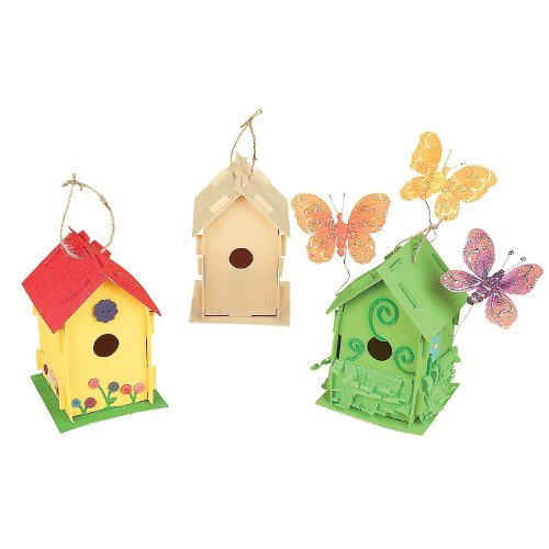 DIY Wooden Birdhouse Kits (Bulk Set of 12) Unfinished Paintable Bird House for Kids