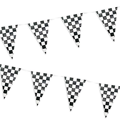 (Piokio 100ft Checkered Flag Banner Racing Birthday Decorations, Nascar Race Party Supplies)