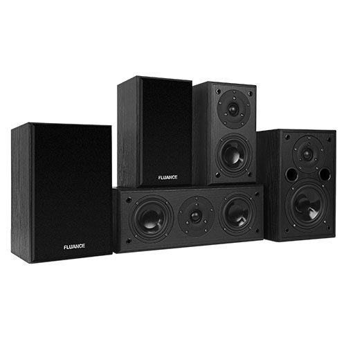 Fluance AV5HTB Dynamic Home Theater Surround Sound 5.0 Channel Speaker System including Powerful Two-way Bookshelf Loudspeakers, Center & Rear Speakers