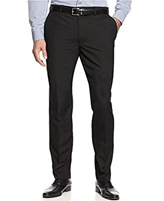 Calvin Klein Black Solid Flat Front Finished New Men's Dress Pants (32W X 34L)