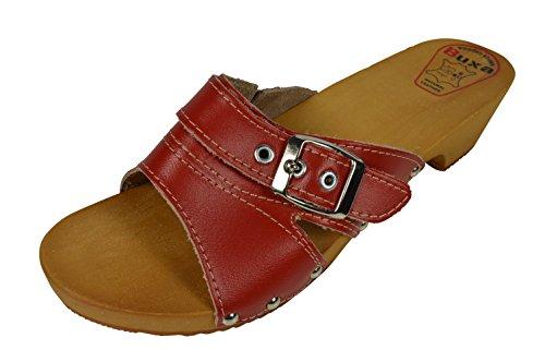 Rosso Con Zoccoli Le sandali pelle E Fibbia In Buxa Cinghia Doppio Per Legno Donne OH8qqB