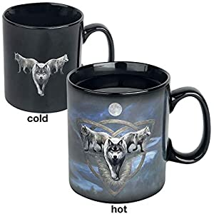 Anne Stokes Wolf Trio - Heat-Change Mug Cup Black