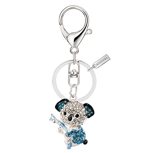 Bling Silver Blue Koala Keychain Key Ring with Pouch Bag