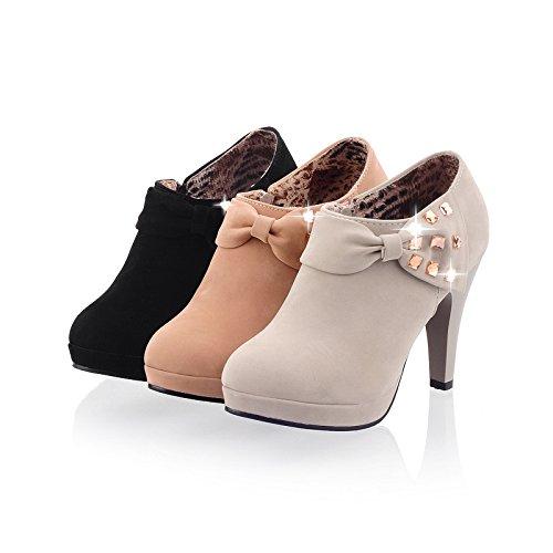 Flock Heels High Boots Skin Platform AIWEIYi Kahki Ankle Womens wFIxtqq5