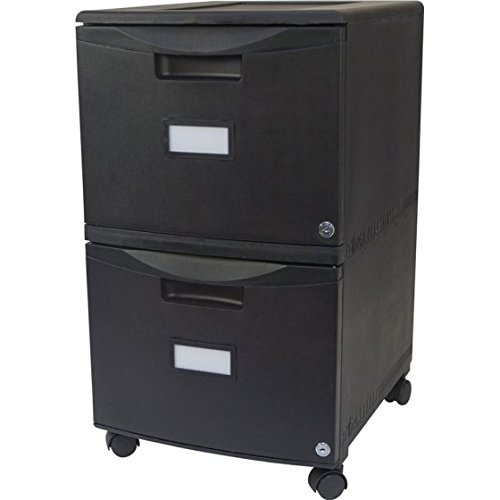 Storex 2-Drawer Mobile File Cabinet With Lock and Casters, Legal/Letter - Black/Black