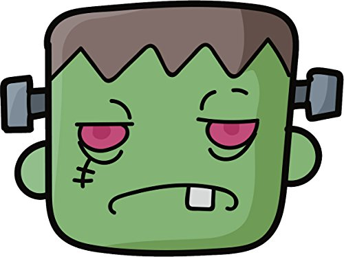 Simple Halloween Cartoon Art - Frankenstein Head Vinyl Decal Sticker (8