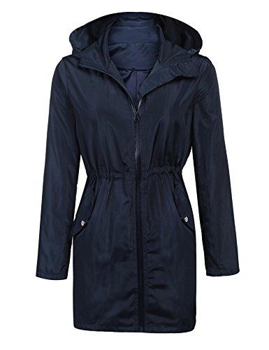 ELESOL Women Rainwear Active Outdoor Hooded Cycling Lightweight Jacket Navy Blue S ()